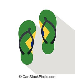 Flip flops in Brazil flag colors icon, flat style
