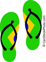 Flip flops in Brazil flag colors icon isolated