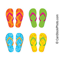 flip flops isolated over white background. vector illustration