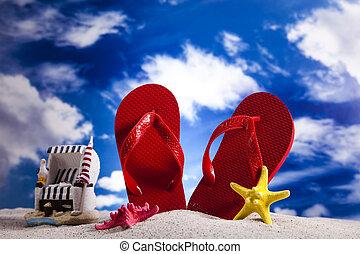 Flip-flops on a sandy beach