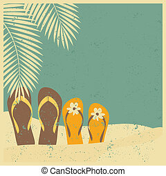 Flip flops on the Beach - Vintage style illustration of two ...