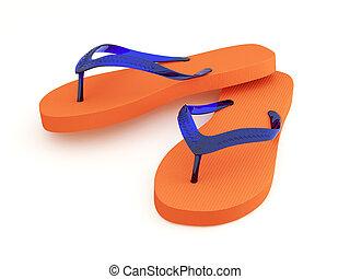 Orange flip flops with indigo blue straps. Sharp focus. Pro clipping path.