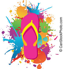 Flip flops over paint color splash isolated over white. Vector file layered for easy manipulation and custom coloring.