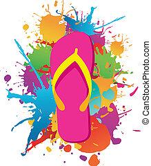 Flip flops paint splash background