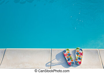 flip-flops, perto, a, natação-piscina