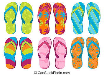 Set of colorful fun Flip flops