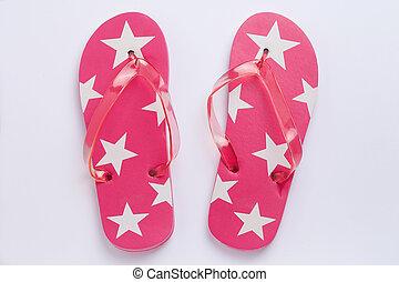 Flip-Flops - red Flip-Flops with Stars - rote Flip-Flops mit...