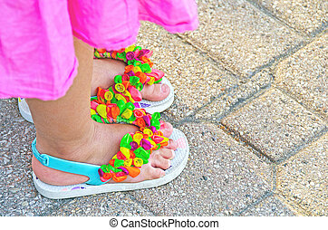 flip-flops with balloon decoration