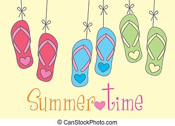 flip flops with summer time text over yellow background. vector