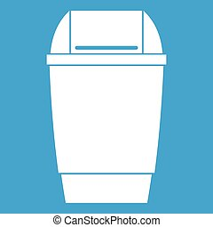 Flip lid bin icon white isolated on blue background vector...
