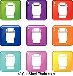 Flip lid bin icons 9 set