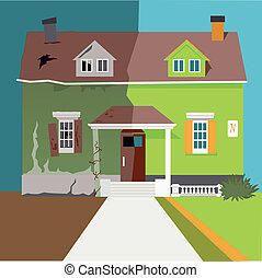Flip the house - House before and after a renovation, vector...