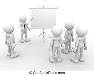 Flipchart - 3d people - human character - person presenting...