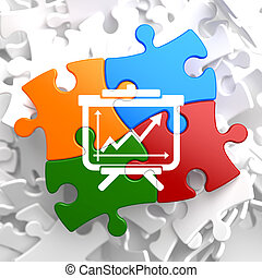 flipchart, ikon, på, multicolor, puzzle.