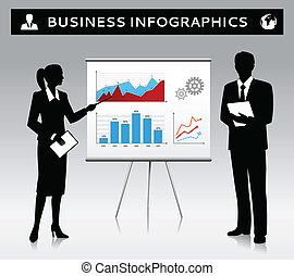 Flipchart presentation template with businessman and businesswoman silhouettes vector illustration