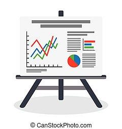 Flipchart, whiteboard screen with marketing data