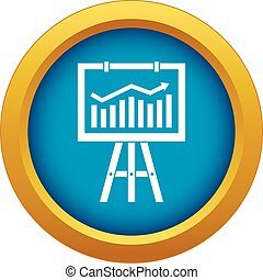 Flipchart with marketing data icon blue vector isolated