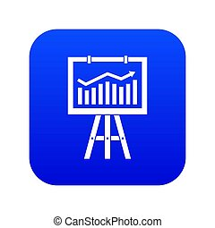 Flipchart with marketing data icon digital blue