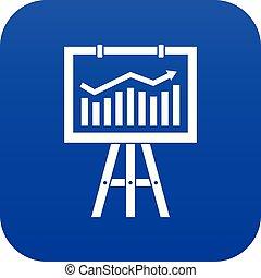 Flipchart with marketing data icon digital blue