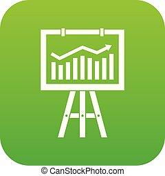 Flipchart with marketing data icon digital green