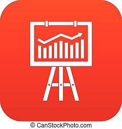 Flipchart with marketing data icon digital red