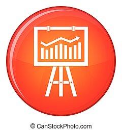 Flipchart with marketing data icon, flat style