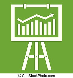 Flipchart with marketing data icon green