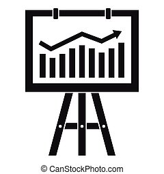 Flipchart with marketing data icon, simple style