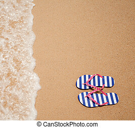 flipflop, barwny szczyt, morze, para, plaża, prospekt