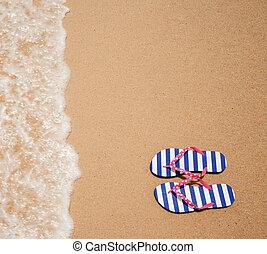 flipflop, topo colorido, mar, par, praia, vista