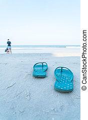 flipflops, ligado, um, arenoso, oceânicos, praia