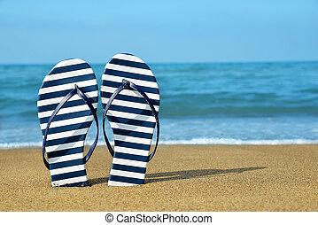 Flipflops on a sandy ocean beach.