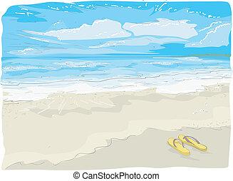 Illustration Sketch of Flipflops on the Beach