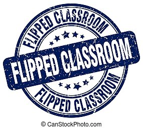 flipped classroom blue grunge stamp
