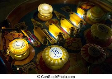 flipper, tavola, primo piano, vista, di, vendemmia, gioco, macchina