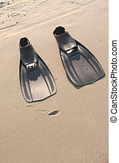 Flippers in the sand at the beach