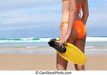 flippers, mulher, luminoso, laranja, biquíni, par, praia