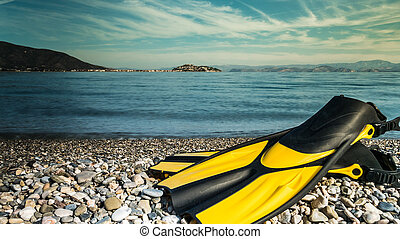 Flippers swimming equipment on beach