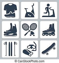 flippers, treadmill, vetorial, esportes, peteca, set:, estacionário, bens, rolo, sportswear, bicicleta, raquetes, skateboard, patins, esquis, ícones, máscara, mergulhar
