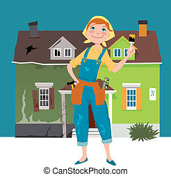 Flipping a house - Cartoon woman in overalls, with...
