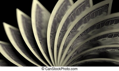 Flipping American one hundred dollar bills, close-up. Seamless loop