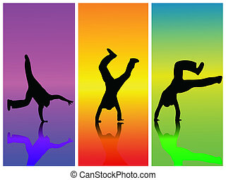 Image of silhouettes in various poses on a colorful background.