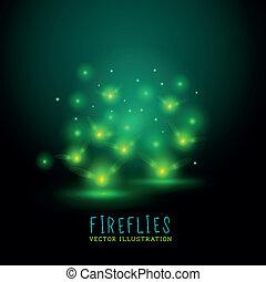 flireflies, glowing