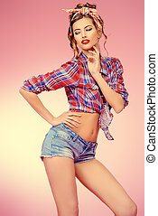 flirtation - Attractive smiling pin-up girl alluring in...