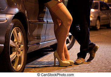 Flirtation - Man flirting with prostitute on the street