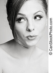 Flirtation - Duotone portrait of beautiful young girl with...