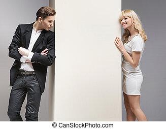 flirten, paar, zacht, aantrekkelijk, tussen