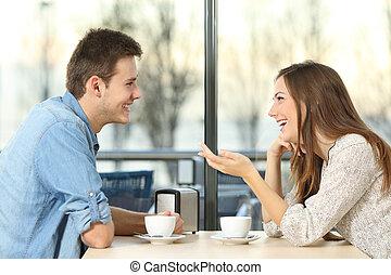 flirter, conversation, magasin, couple, heureux, café