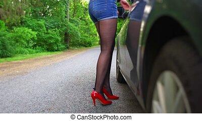 flirter, voiture., client?s, prostituée, femme