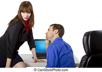 Flirting Co-Worker - female coworker is flirting to get...